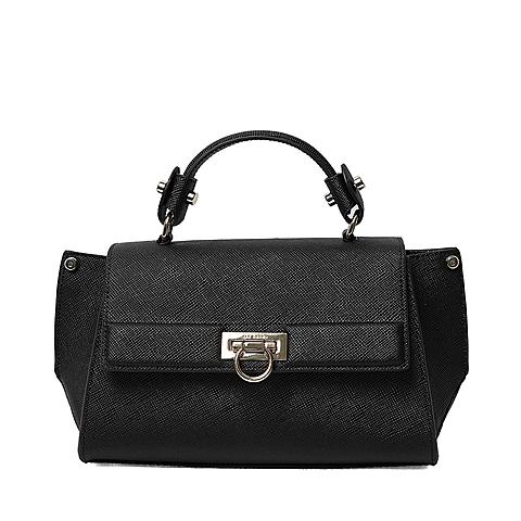 Ist belle/百丽箱包2016年春季专柜同款黑色牛剖层皮革手包X3322AX6 专柜1