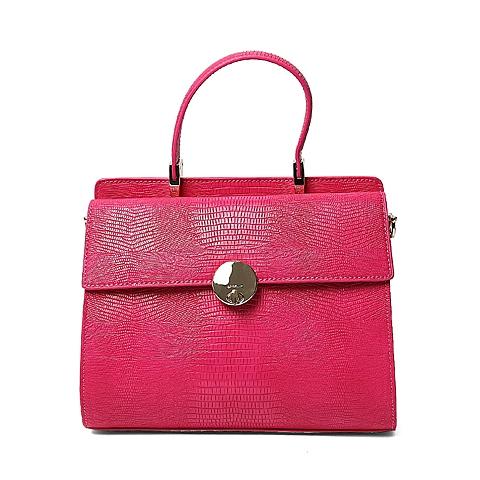 Ist belle/百丽箱包2016年夏季专柜同款桃红色人造革手包X3360BX6 专柜1