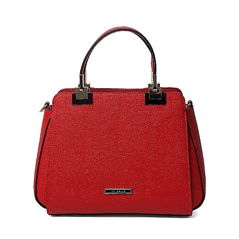 Ist belle/百丽箱包夏季专柜同款红色牛剖层皮革手包X3364BX6
