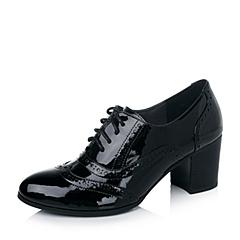 Joy&Peace/真美诗秋季专柜同款黑色小牛皮漆光布洛克女单鞋ZVW17CM5