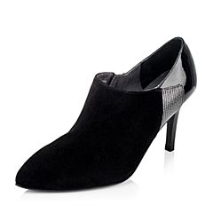 Joy&Peace/真美诗年秋季专柜同款黑/灰色羊皮女鞋ZL506CM5
