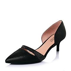 Joy&Peace/真美诗春季专柜同款黑山羊皮女优雅小尖头皮凉鞋ZH420AK6