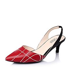 Joy&Peace/真美诗春季专柜同款红/黑牛皮女凉鞋ZG111AH6