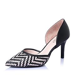 Joy&Peace/真美诗春季专柜同款粉黑时尚编织细高跟女凉鞋ZUK61AK6