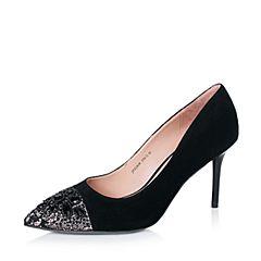 Joy&Peace/真美诗秋季专柜同款粉黑/黑色蕾丝布/羊绒皮女鞋ZJ828CQ6