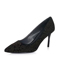 Joy&Peace/真美诗秋季专柜同款黑色羊皮中世纪浪漫暗纹系列女单鞋ZJ823CQ6