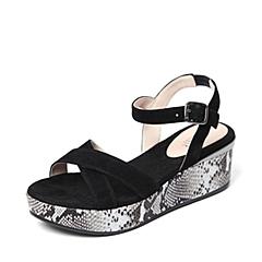 Joy&Peace/真美诗夏季专柜同款黑色羊绒皮女凉鞋ZF304BL6