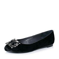 Joy&Peace/真美诗秋季专柜同款黑色毛绒布女皮鞋ZV501CQ6