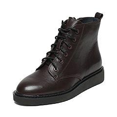 Joy&Peace/真美诗冬季专柜同款深啡色牛皮女休闲靴ZY127DD6