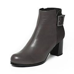 Joy&Peace/真美诗冬季专柜同款灰色牛皮女皮靴ZV922DD6