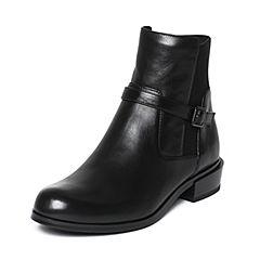 Joy&Peace/真美诗冬季专柜同款黑色牛皮女短靴ZM229DD6