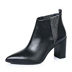 Joy&Peace/真美诗冬季专柜同款黑色牛皮女皮靴ZB747DD6