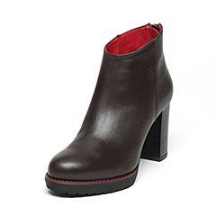 JoyPeace真美诗冬季专柜同款啡色牛皮女皮靴粗跟高跟短靴后拉链靴子ZC736DD6