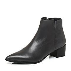 Joy&Peace/真美诗冬季灰/深灰色牛皮粗跟尖头侧拉链女皮靴短靴ZJ429DD6