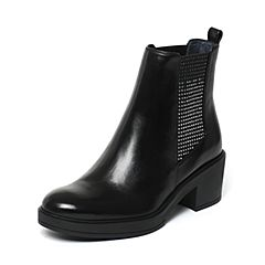 Joy&Peace/真美诗冬季专柜同款黑色牛皮方跟女皮靴短靴ZOR24DD6