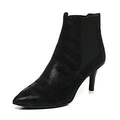 Joy&Peace/真美诗冬季黑色羊绒皮细跟高跟靴子女皮靴短靴ZM929DD6