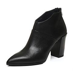 Joy&Peace/真美诗冬季专柜同款黑色牛皮粗跟裸靴高跟女皮靴短靴ZZL27DD6