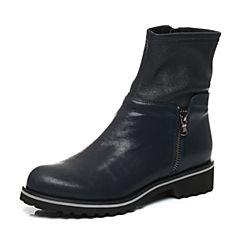 Joy&Peace/真美诗冬季专柜同款深兰/兰色侧拉链平底短靴皮靴圆头女靴ZNX31DZ6