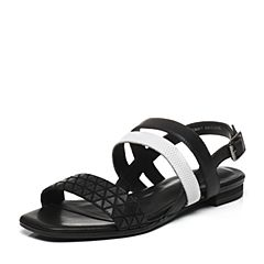 JoyPeace真美诗夏季专柜同款黑/白色时尚休闲女皮凉鞋ZB817BL6
