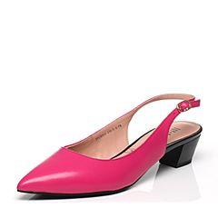 JoyPeace真美诗春季专柜同款桃红色羊皮女凉鞋ZR915AH6