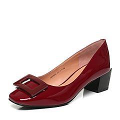 Joy&Peace真美诗秋季专柜同款深红色漆皮牛皮方扣粗跟中跟单鞋女ZX405CQ6
