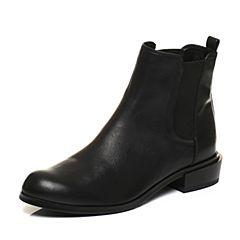 JoyPeace真美诗冬季专柜同款黑色牛皮女短靴方跟中跟短筒靴ZM224DD6