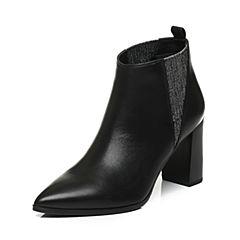 Joy&Peace/真美诗冬季专柜同款黑色(绒里)牛皮女皮靴短靴ZB747DD6