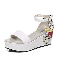 Joy&Peace/真美诗夏季专柜同款白/浅灰色坡跟后跟个性图案女皮凉鞋ZF323BL7
