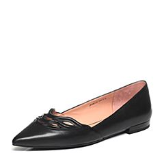 Joy&Peace/真美诗2017春季专柜同款黑色打蜡小牛皮女单鞋ZK122AQ7
