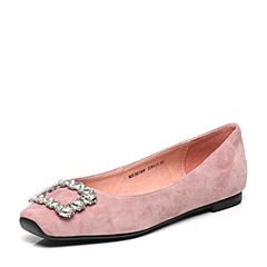 JoyPeace真美诗2017春季专柜同款粉色羊皮休闲女单鞋36189AQ7