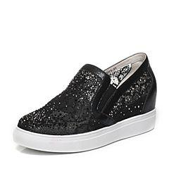 JoyPeace真美诗2017春季专柜同款黑色/黑水钻女休闲鞋715C6AM7