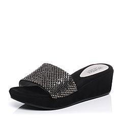 JoyPeace真美诗夏季专柜同款黑色时尚布女凉拖鞋ZF330BT7