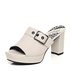 JoyPeace真美诗夏季专柜同款米白色牛皮粗跟女凉鞋ZZ406BT7