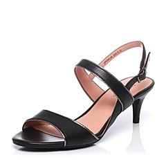JoyPeace真美诗夏季专柜同款黑/灰色牛皮优雅细跟一字带女凉鞋YNL24BL7