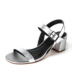 JoyPeace真美诗2017夏季银色羊皮简约粗跟女凉鞋ZT119BL7