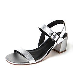JoyPeace真美诗夏季银色羊皮简约粗跟女凉鞋ZT119BL7