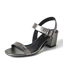 JoyPeace真美诗2017夏季深灰色羊皮简约粗跟女凉鞋ZT119BL7
