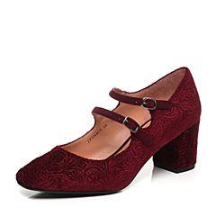 Joy&Peace/真美诗2017秋季专柜同款紫红/酒红色复古玛丽珍鞋粗跟女单鞋奶奶鞋YNM10CQ7