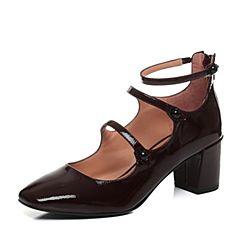 JoyPeace真美诗2017秋季专柜同款酒红色牛皮粗跟复古玛丽珍鞋女单鞋YNM15CQ7