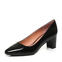 JoyPeace真美诗秋季专柜同款黑色漆牛皮粗跟中跟通勤女单鞋YNP02CQ7