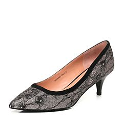 Joy&Peace/真美诗新款秋季专柜同款黑粉/黑色性感蕾丝女猫跟单鞋ZD426CQ7