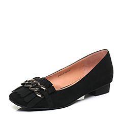 JoyPeace真美诗新款秋季专柜同款黑色羊绒皮金属饰扣圆头方跟女单鞋ZK312CQ7