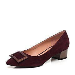 JoyPeace真美诗秋季专柜同款紫红色羊绒皮金属小方扣粗跟女浅口单鞋ZR761CQ7