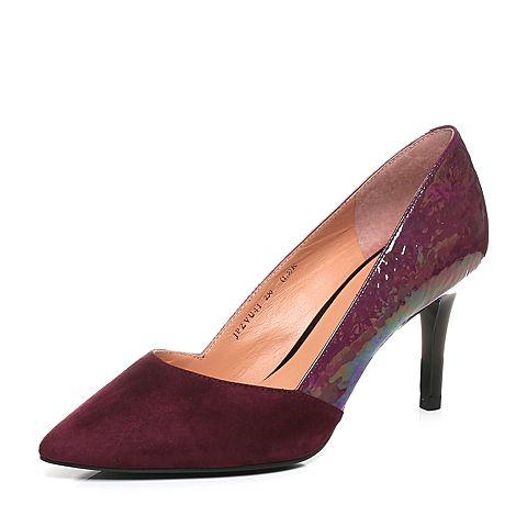 Joy&Peace/真美诗秋季专柜同款紫红色细跟高跟尖头浅口单鞋女ZVU41CQ7