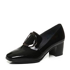 Joy&Peace/真美诗2017秋季专柜同款黑色漆皮牛皮圆扣粗跟中跟单鞋女YNQ02CM7