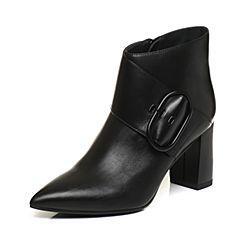 JoyPeace真美诗2017冬季专柜同款黑色牛皮靴子粗跟高跟短靴尖头女靴ZB771DD7