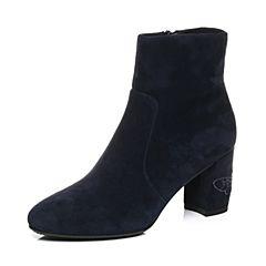 Joy&Peace/真美诗2017冬季专柜同款墨兰色羊绒皮女皮靴粗跟侧拉链小短靴YNT28DD7