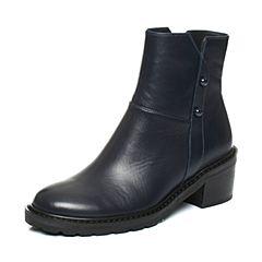 Joy&Peace/真美诗2017冬季深兰色牛皮女皮靴粗跟中跟短筒靴ZOR54DD7