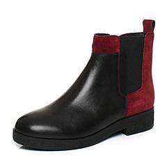 Joy&Peace/真美诗2017冬季黑/酒红色牛皮粗跟中跟女皮靴短筒靴及踝靴ZPA45DD7