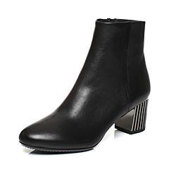 JoyPeace真美诗2017冬季专柜同款黑色牛皮圆头侧拉链皮靴粗跟中跟短靴女靴子YNX31DD7